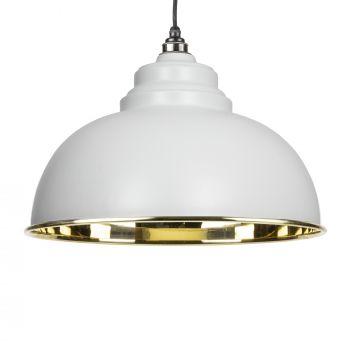 Light Grey Smooth Brass Harborne Pendant